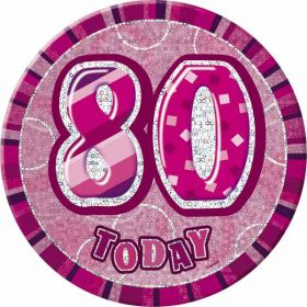 Pink Glitz Large 80th Birthday Badge