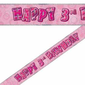 Pink Glitz Age 3 Prismatic Foil Banner 3.6m