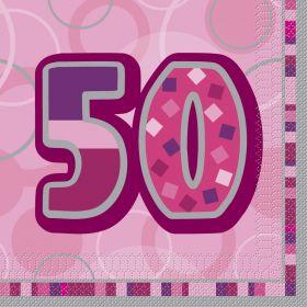 Pink Glitz age 50 Luncheon Party Napkins 16pk