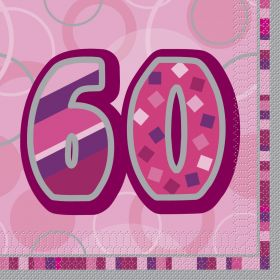 Pink Glitz age 60 Luncheon Party Napkins 16pk