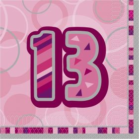 Pink Glitz age 13 Luncheon Party Napkins 16pk