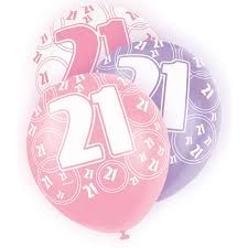Pink Glitz 21 All Over Print Party Balloons 6pk