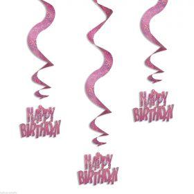 Pink Glitz Happy Birthday Hanging Swirl Party Decoration (6 Strings)