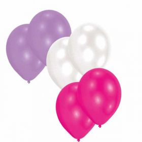 Pink, Lilac & White Colour Latex Balloons, pk30