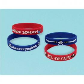 Pirate Treasure Rubber Bracelets, pk4