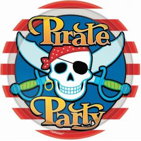 Pirate Party Plates 23cm, pk8