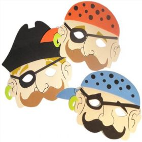 Pirate Foam Masks, 6 supplied