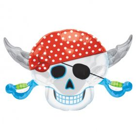 Pirate Party Skull SuperShape Foil Balloon (sold uninflated)