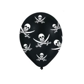 "Pirate Printed Jolly Roger Latex Balloons 11"", pk6"