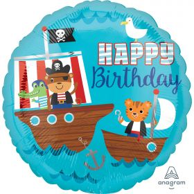 Pirate Ship Happy Birthday Standard HX Foil Balloons S40