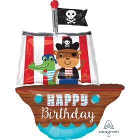 "Pirate Ship Happy Birthday SuperShape Foil Balloons 27""/68cm w x 34""/86cm h P35"