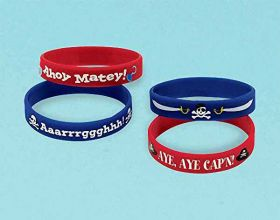 Pirate Treasure Rubber Bracelets, pk4