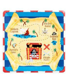 Pirate Treasure Square Plates 25.4cm, pack of 8