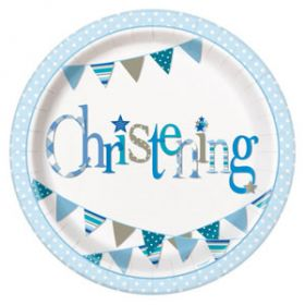 Christening Blue Bunting Party Plates Pk8