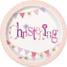 Christening Pink Bunting Party Plates Pk8