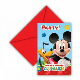 Playful Mickey Mouse Party Invitations & Envelopes pk6