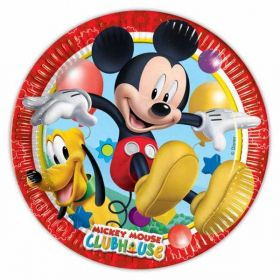 Playful Mickey Mouse Paper Party Plates pk8 23cm