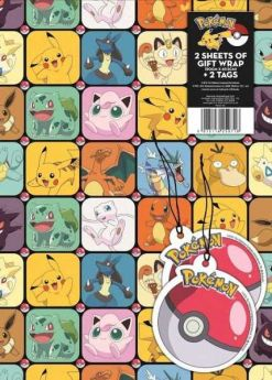 Pokemon Gift Wrap, 2 sheets and 2 tags