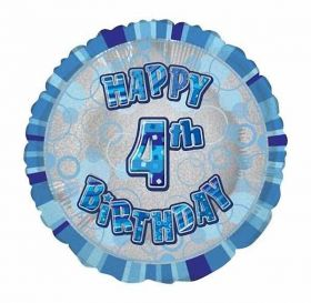 Blue Age 4 Prismatic Foil Balloon