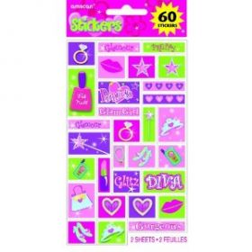 Princess Stickers ( 2 Sheets, 60 Stickers)