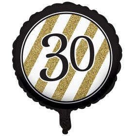 Black & Gold Age 30 Foil Balloon