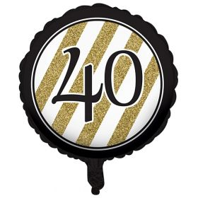 Black & Gold Age 40 Foil Balloon
