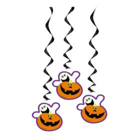 Halloween Pumpkin Boo Hanging Swirl Party Decoration, pk3