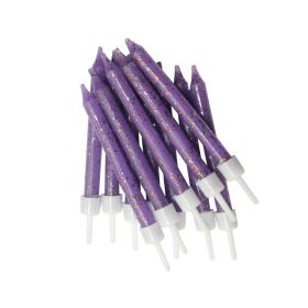 Glitter Purple Candles with Holders, pk12