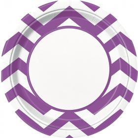 Pretty Purple Chevron Paper Plates 23cm, pk8
