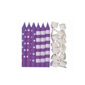 Purple Dots & Stripes Candles, pk12