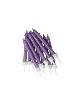 Purple Glitter Candles pk12
