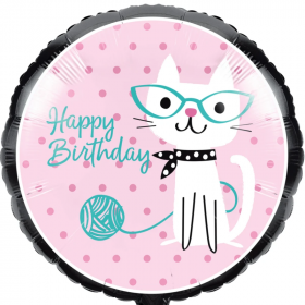 """Purrfect Party Cat Happy Birthday Foil Balloon 18"""""""