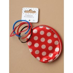 Coloured spotted purse with 4 small elastic