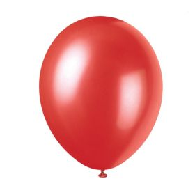 "Pearlised Flame Red Latex Balloons 12"", pk8"