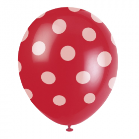 Red Polka Dot Latex Balloons 12""