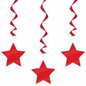 Ruby Red Swirls with Stars Hanging  Party Decorations x 3