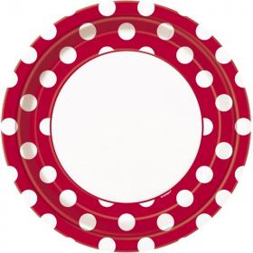 Red Polka Dot Paper Plates 23cm, pk8