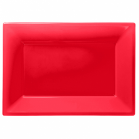 Red Plastic Serving Trays
