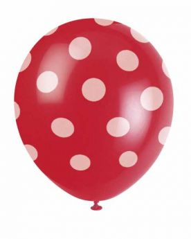 Red Polka Dot Party Balloons 6pk