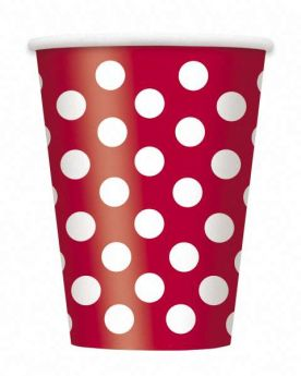 Red Polka Dot Party Paper Cups 6pk