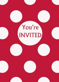 Red Polka Dot Party Invitations 8pk