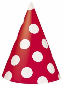 Red Polka Dot Party Hats 8pk