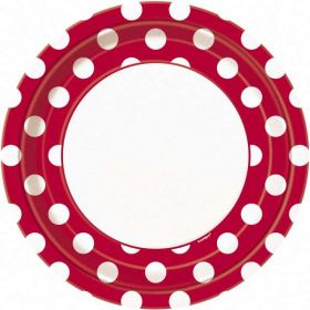 "Red Polka Dot  9"" Party Paper Plates 8pk"