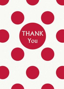 Red Polka Dot Party Thank You Cards 8pk