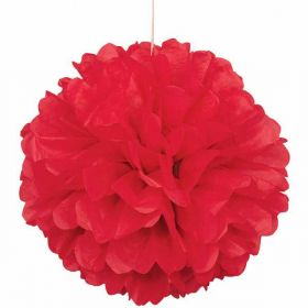 Red Paper Puff Ball Hanging Party Decoration