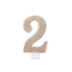 Glitz Rose Gold Number 2 Candle