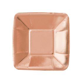 Rose Gold Foil Square Appetiser Plates 12cm, pk8