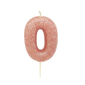 Rose Gold Glitter Number 0 Moulded Pick Candle