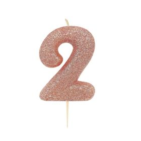 Rose Gold Glitter Number 2 Moulded Pick Candle
