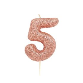 Rose Gold Glitter Number 5 Moulded Pick Candle